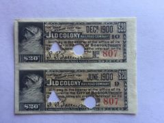 1902 Old Colony Railroad Company $20 Bond Interest Coupons