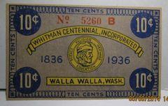 1936 10c Whitman Centennial, Walla, Walla, WA