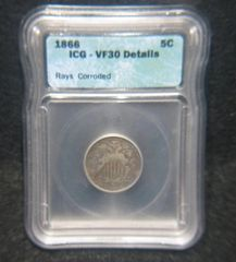 1866 Rays Shield 5C ICG-VF30 Details Corroded