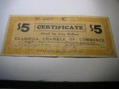 1933 $5 Clarinda ChofC