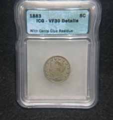 """1883 Liberty 5c """"with cents"""" ICG-VF35, Details Glue Residue"""