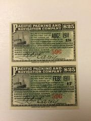 1902 Pacific Packing and Navigation Company $25 Bond Interest Coupons