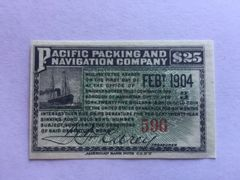 Pacific Packing and Navigation Co, 1902 $25 Bond Interest Coupons
