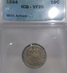 1854 Arrows Seat Liberty 10c ICG-VF20