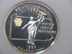 1999S Pennsylvania Silver PF69 Heavy Cameo 25c
