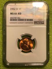 Gem 1952D NGC MS66 RD color, strike, great surfaces