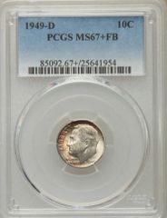 1949-D Roosevelt 10c MS67+FB Gem