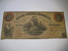 1864 $2 Bank of State of Georgia, Savannah