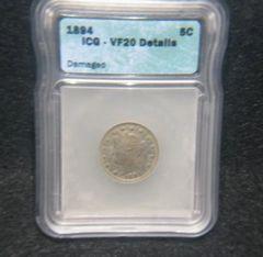 1894 Liberty 5c, ICG-VF20 details, damaged
