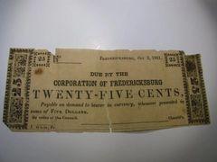 1861 25c Corp of Fredericksburg VA