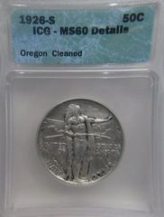 1926S Oregon Trail 50c, ICG-MS60 details-Cleaned