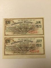 1903 Consumers Brewing Company $20 Bond Coupons Gold Coin