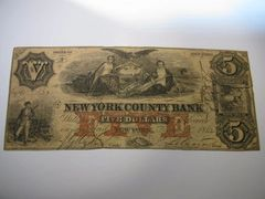 1862 $5 New York County Bank
