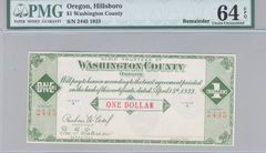 1933 $1 Washington Co, Hillsoboro, OR PMG64 EPQ