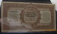 "1909 National Cloak & Suit Co, NY ""good for 50 cents"""