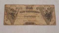 ca1850 $5 Bank of East Tennessee, Knoxville rare (11-15 known)