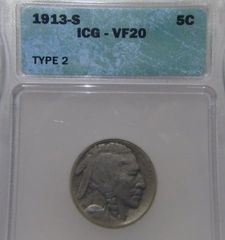 1913S T2 Buffalo 5c ICG-VF20 Researched Great Value