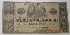1862 $5 State of Missouri Jefferson City