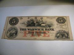 1850s $5 Warwick Bank
