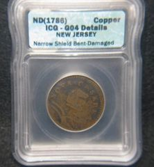 1786 New Jersey Copper ICG-G4 Details Narrow shield