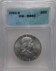 1962D Franklin 50c ICG MS60 Excellent value SOLD