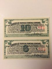 1899 American Tropical Planting Company $10 Bond Coupons