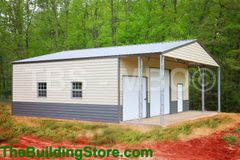 Garage 40x40x16 shop with 40x30 enclosed, 12x12 roll up, 10x10 rollup, 4 30x36 windows and a walk in door in Lap siding Sales price $24,025 (Deposit to place order $3844)