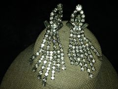 The Ultimate Glam 1920's Silver Rhinestone Dangling Earrings