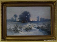 ORIGINAL WALTER LAUNT PALMER SCHOOL OIL ON BOARD Ca. 1900