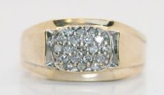 Estate Vintage Men's 10K Gold .25 TCW Diamond Ring - Size 10