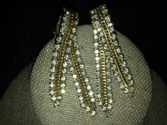 2 Strand Imitation Gold & Diamond Ladies Earrings