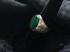 Silver Malachite Ring - Size Men's 10