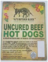 VJ's Butcher Block Gourmet Uncured Beef Hot Dogs 3 pound Pack