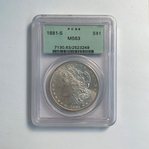 1881-S Morgan Silver Dollar Golden Toning Reverse MS63