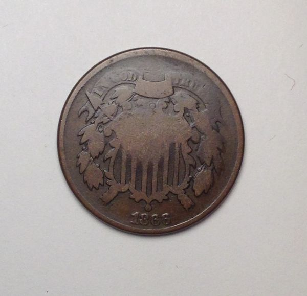 1866 2-cent Piece VG -type coin