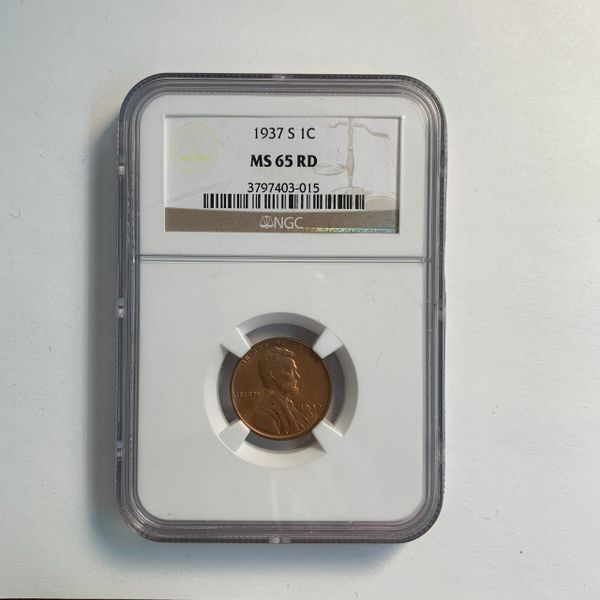 1937-S Lincoln Wheat Cent MS65 RD