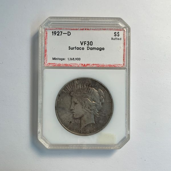 1927-D Peace Silver Dollar VF30