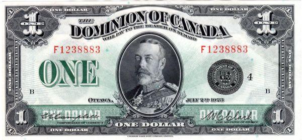 $1 1923 Dominion of Canada Large Note P-33o Choice AU55 PPQ