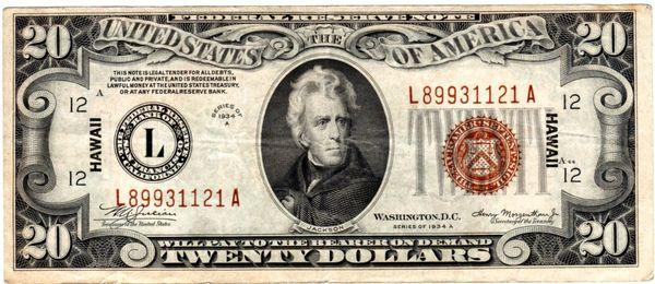 $20 1934A HAWAII Extra Fine Fr 2305
