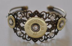 Winchester AA 12 Gauge & 410 Gauge Shotgun Shell Bullet Cuff Bracelet With 9 Swarovski Crystals Custom Made
