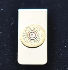 Rare Vintage Peters Victor (Remington) 12 Gauge Shotgun Shell Bullet Money Clip Nickel Silver Custom Made in the USA