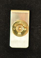Vintage Winchester AA 12 Gauge Shotgun Shell Bullet Money Clip Nickel Silver