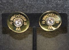 Vintage Winchester AA 12 Gauge Shotgun Shell Bullet Earrings Highly Polished Sterling Silver 925 Posts Swarovski Crystals