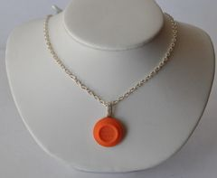 White Flyer Orange Clay Pigeon Target Pendant Silver Plate Chain
