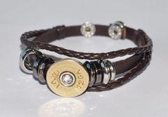 Browning 12 Gauge Shotgun Shell Brown Leather Bracelet Adjustable Interchangable Bullet Custom Made in the USA