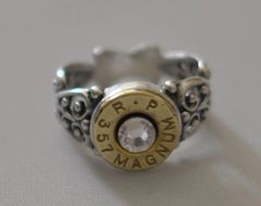 Remington Peters 357 Magnum Pistol Bullet Ring Filigree Sterling Silver 925 Swarovski Crystal Custom Made in the USA