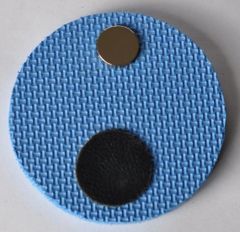 Magnetic Shotgun Barrel Rest Pad Round Blue with Black Leather Trim for Trap Shooting, Skeeting Shooting, Sporting Clays Made in the USA