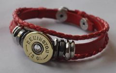 Remington 12 Gauge Shotgun Shell Red Leather Bracelet Adjustable Interchangable Bullet Custom Made in the USA Shotgun Shell Jewelry