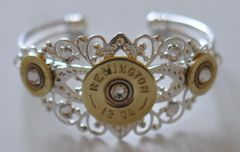 Remington 12 Gauge & 410 Gauge Shotgun Shell Bullet Bracelet Silver Plate Filigree 9 Swarovski Crystals Custom Made