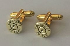 Winchester 40 Caliber Smith Wesson Brass Bullet Casing Cufflinks Custom Made in the USA